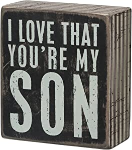 """Primitives by Kathy 21314 Pinstriped Trim Box Sign, 3.5"""" x 4"""", Love That You're My Son"""