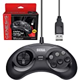 Retro-Bit Official Sega Genesis USB Controller 6-Button Arcade Pad for Sega Genesis Mini, PS3, PC, Mac, Steam, Switch - USB P
