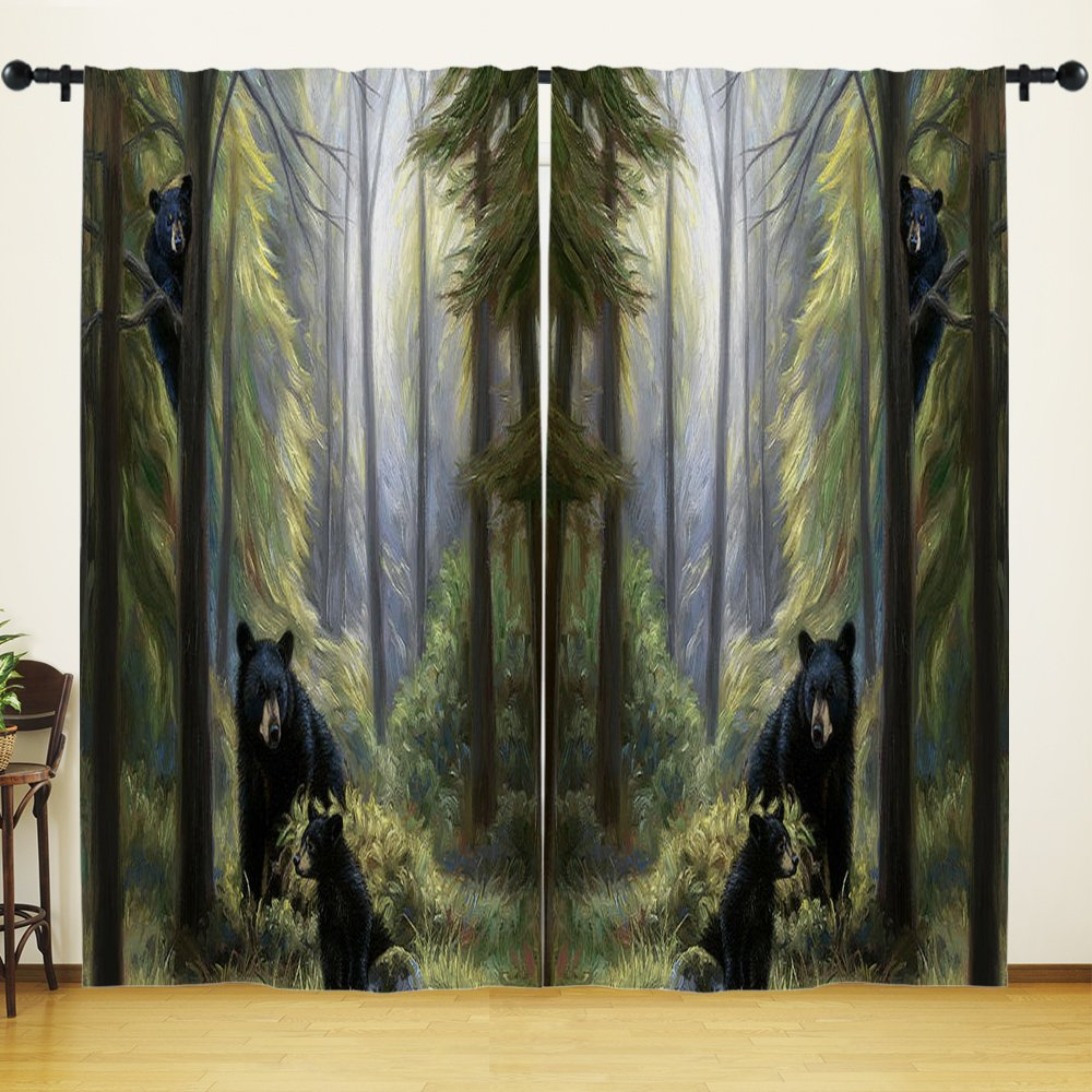 YOUHOME Window Curtain for Living Room,Black Bear Family In The Forest Curtains Home Decorations for Bedroom Kids Room 2 Panels Set,54x84inch,Green,Gray,Black