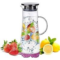 BOQO Wasserkaraffe,BOQO1.5L Glaskaraffe, Wasserkrug mit Blütenblatt Edelstahldeckel Karaffe (Glaskanne)