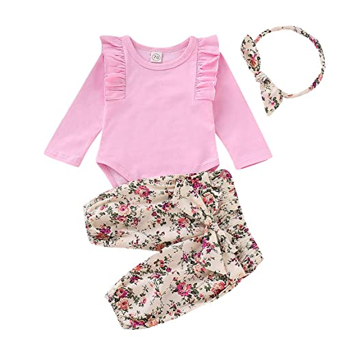 fafd9c39c3c0 Newborn Girl Clothes 3Pcs Girls Baby Outfit Pink Ruffle Long Sleeve Rompers  Tops + Yellow Floral