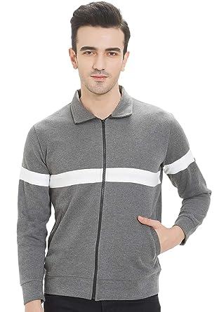 e7733511b WYO Men's Sweatshirt Winter Wear Zipper Jacket (Black-White)