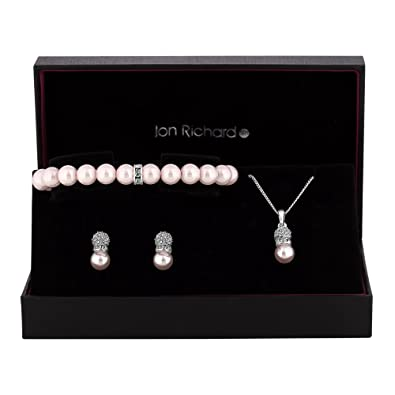 Jon Richard Women's Rose Gold Plated Crystal Halo Trio Jewellery Set In A Gift Box WDYfMo