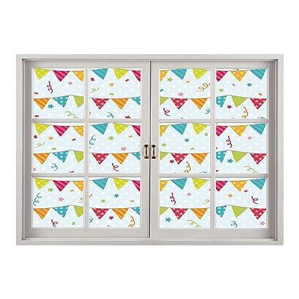 SCOCICI 3D Depth Illusion Vinyl Wall Decal Sticker Birthday DecorationsColorful Pretty Triangular Party