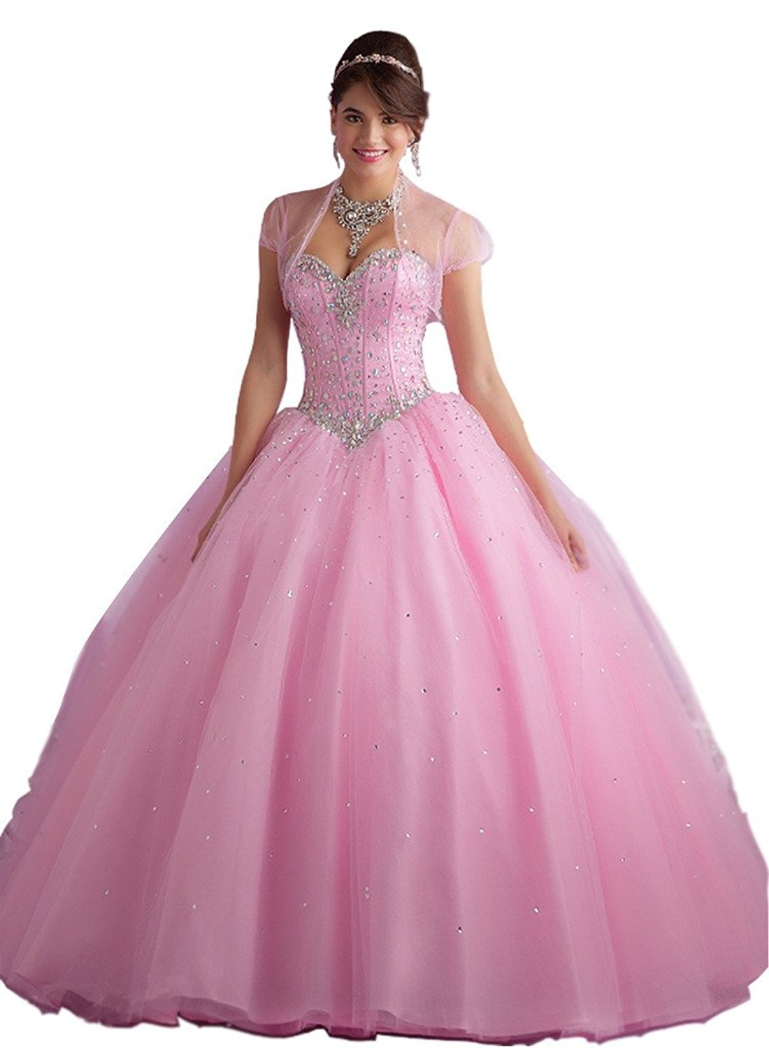Beilite Women's Sweetheart Prom Long Dresses Quinceanera Gown with Crystal Sequins Pink 8