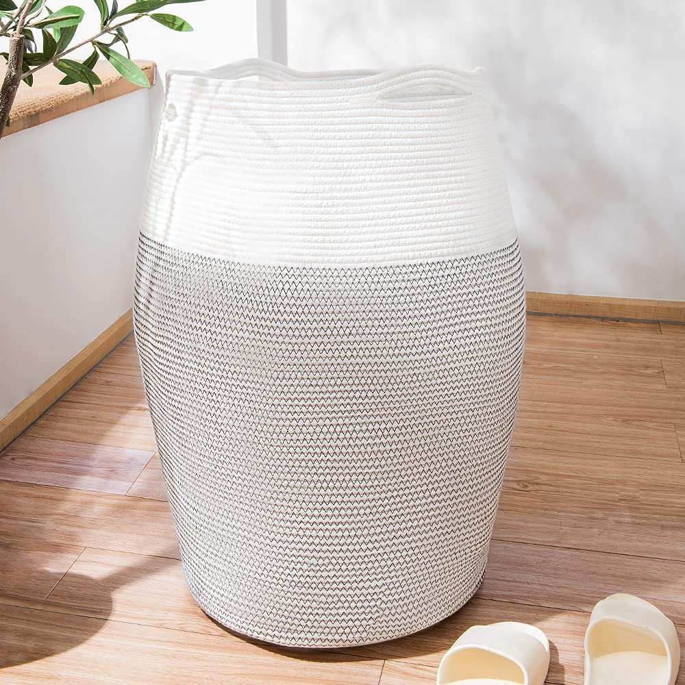 ropesmart Cotton Rope Woven Basket,Foldable Clothes Laundry Hamper,25.6'' Tall Storage Baskets for Blankets&Pillows,Toys Storage Baskets,Black White Mixed
