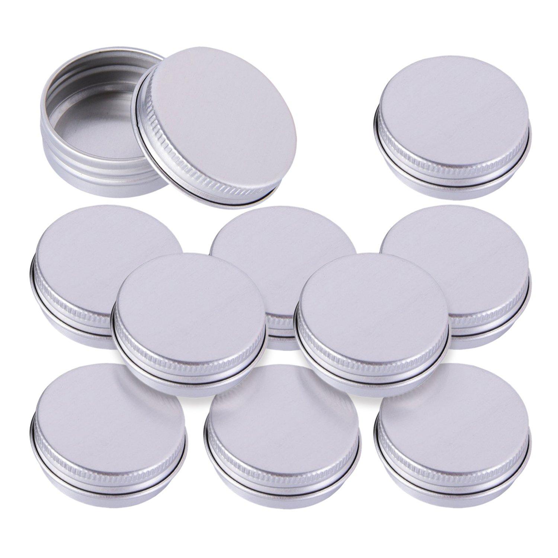 Cremedose Leere Dosen Schraubdose 10ml 15ml, Alu-Tiegel aus Aluminium, mit Schraub-Deckel, Alu-Dose Behälter für Kosmetik, Leer, 10 Stück Döschen (10ml)