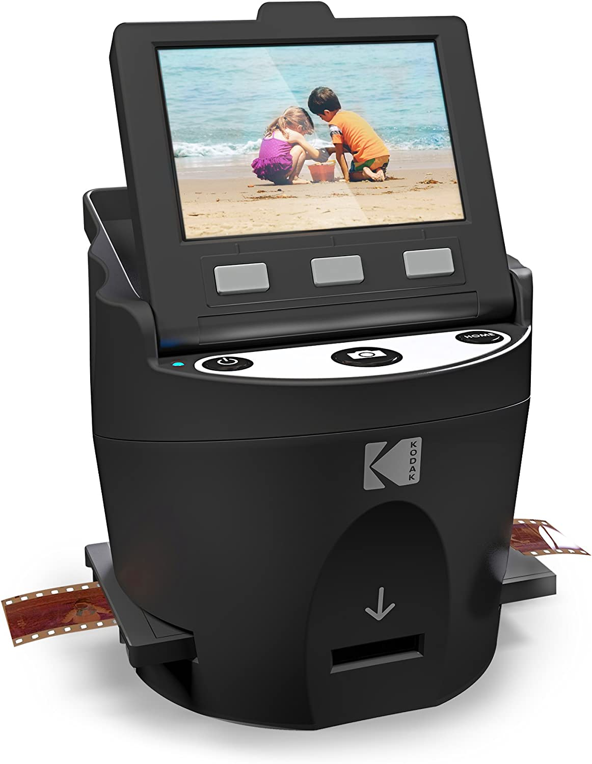"KODAK SCANZA Digital Film & Slide Scanner - Converts 35mm, 126, 110, Super 8 & 8mm Film Negatives & Slides to JPEG - Includes Large Tilt-Up 3.5"" LCD, Easy-Load Film Inserts, Adapters & More: Office Products"