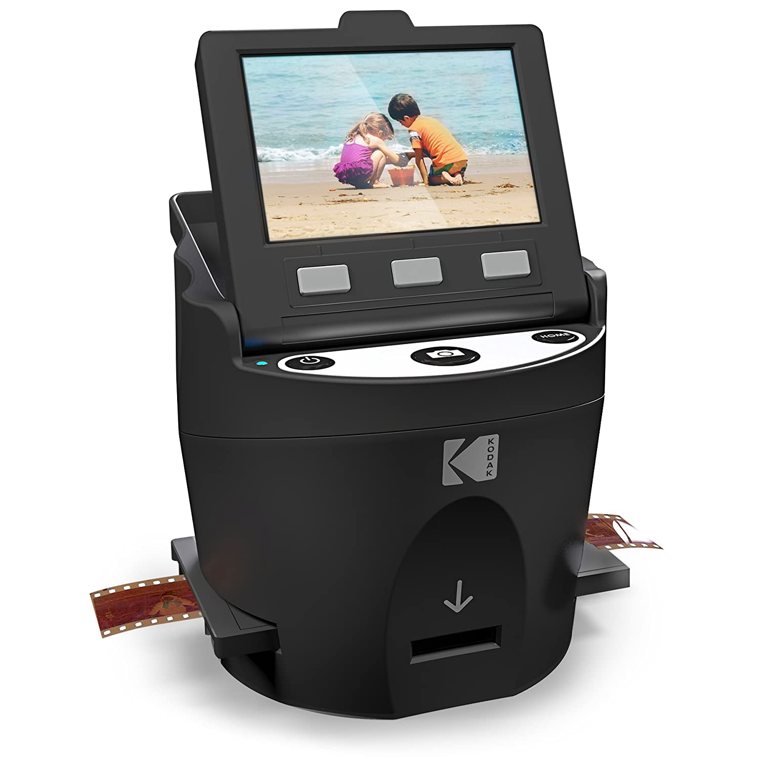 "Kodak Scanza Digital Film & Slide Scanner – Converts 35mm, 126, 110, Super 8 & 8mm Film Negatives & Slides to JPEG – Includes Large Tilt-Up 3.5"" LCD, Easy-Load Film Inserts, Adapters & More RODFS35"