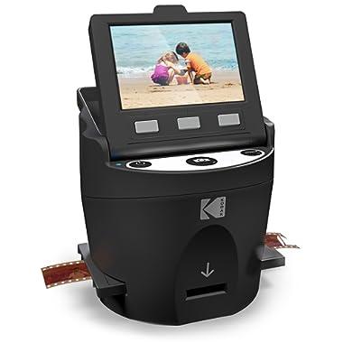 """KODAK SCANZA Digital Film & Slide Scanner – Converts 35mm, 126, 110, Super 8 & 8mm Film Negatives & Slides to JPEG – Includes Large Tilt-Up 3.5"""" LCD, Easy-Load Film Inserts, Adapters & More"""