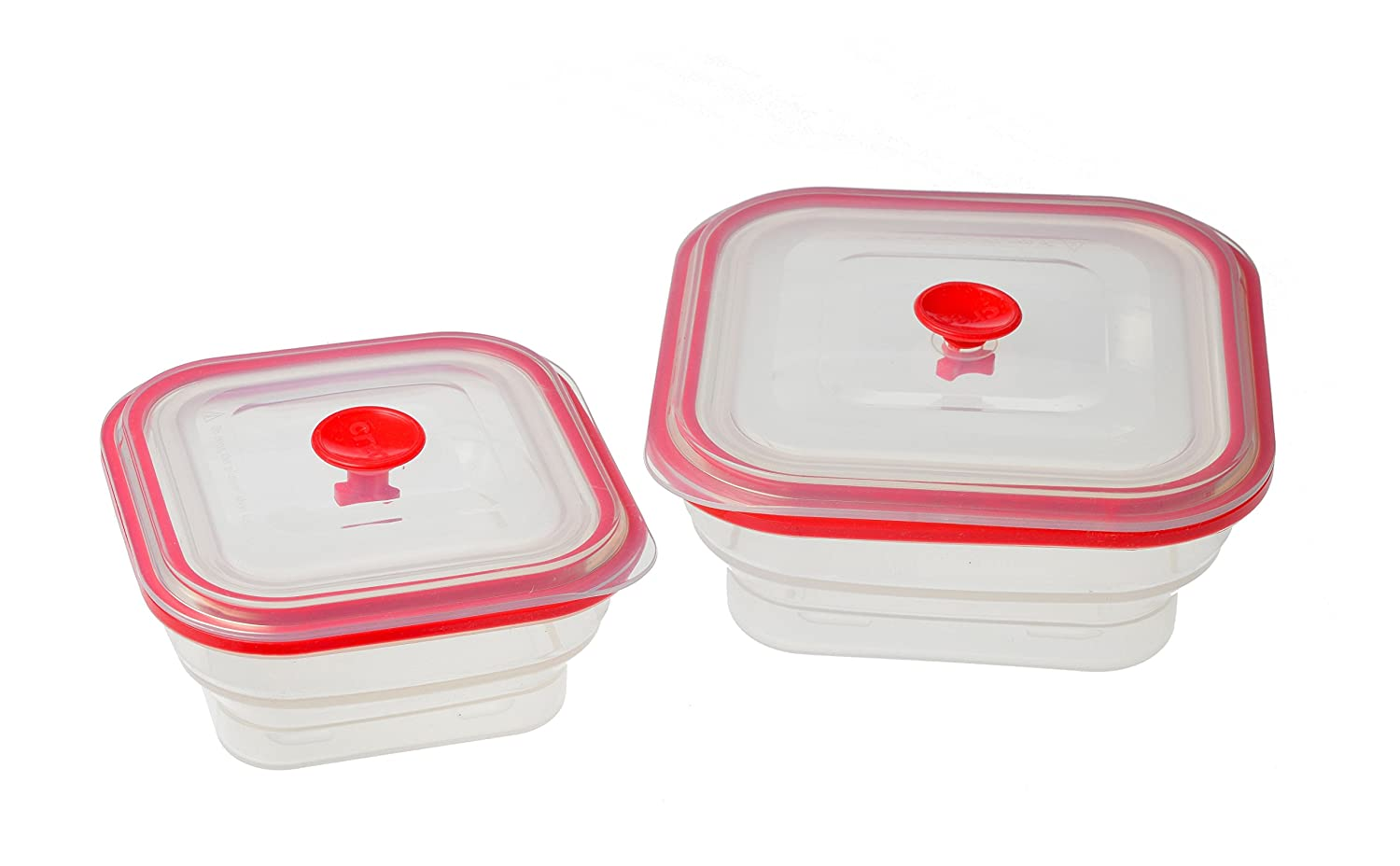 Creo Collapsible Airtight Silicone Food Storage Containers, Freezer to Oven Safe, Set of 2