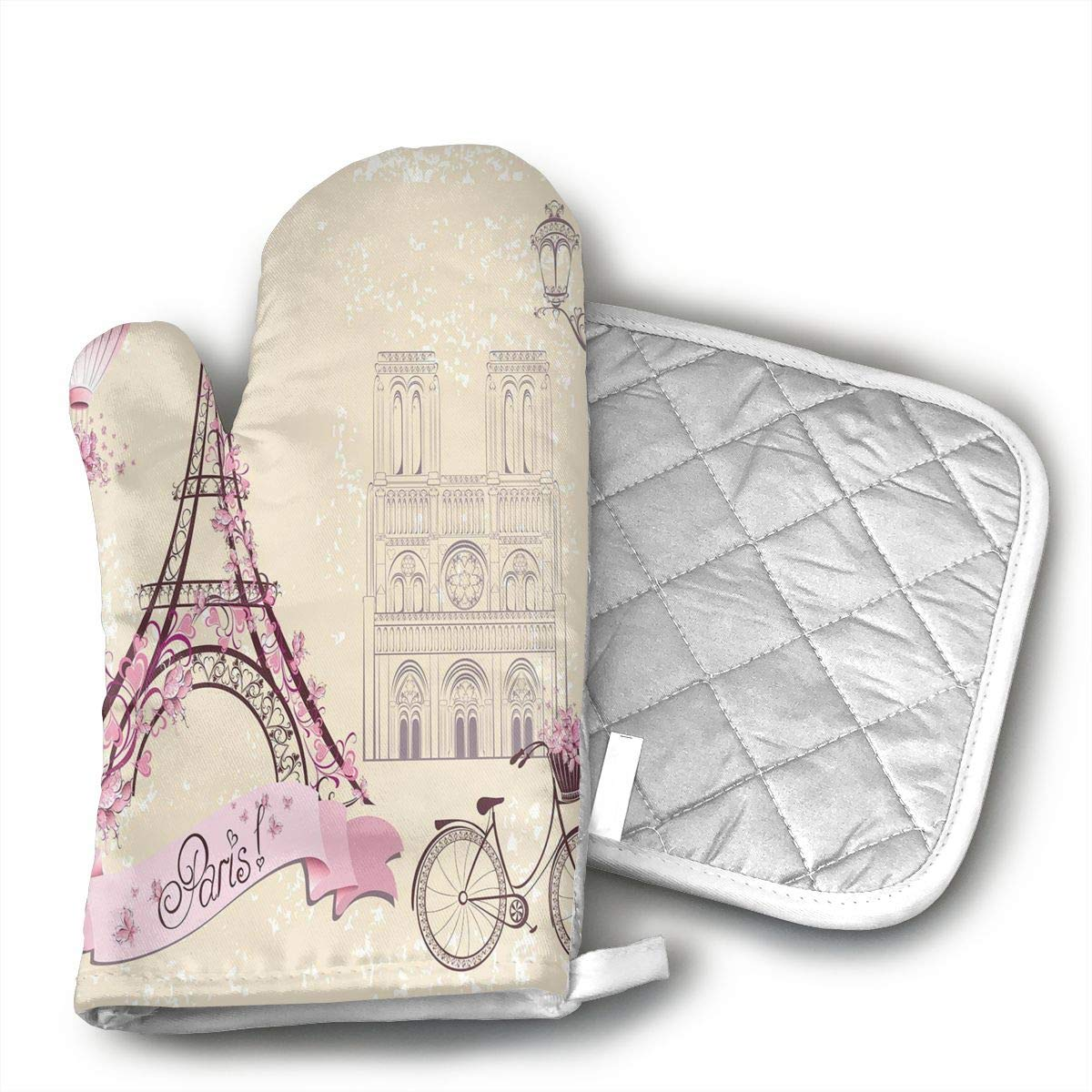 BBQGloves3 Floral Paris Symbols Landmarks Eiffel Tower Hot Air Balloon Bicycle Romantic Couple Shaped Oven Mitts and Pot Holders Set of 2 for Kitchen Set with Cotton Non-Slip Grip