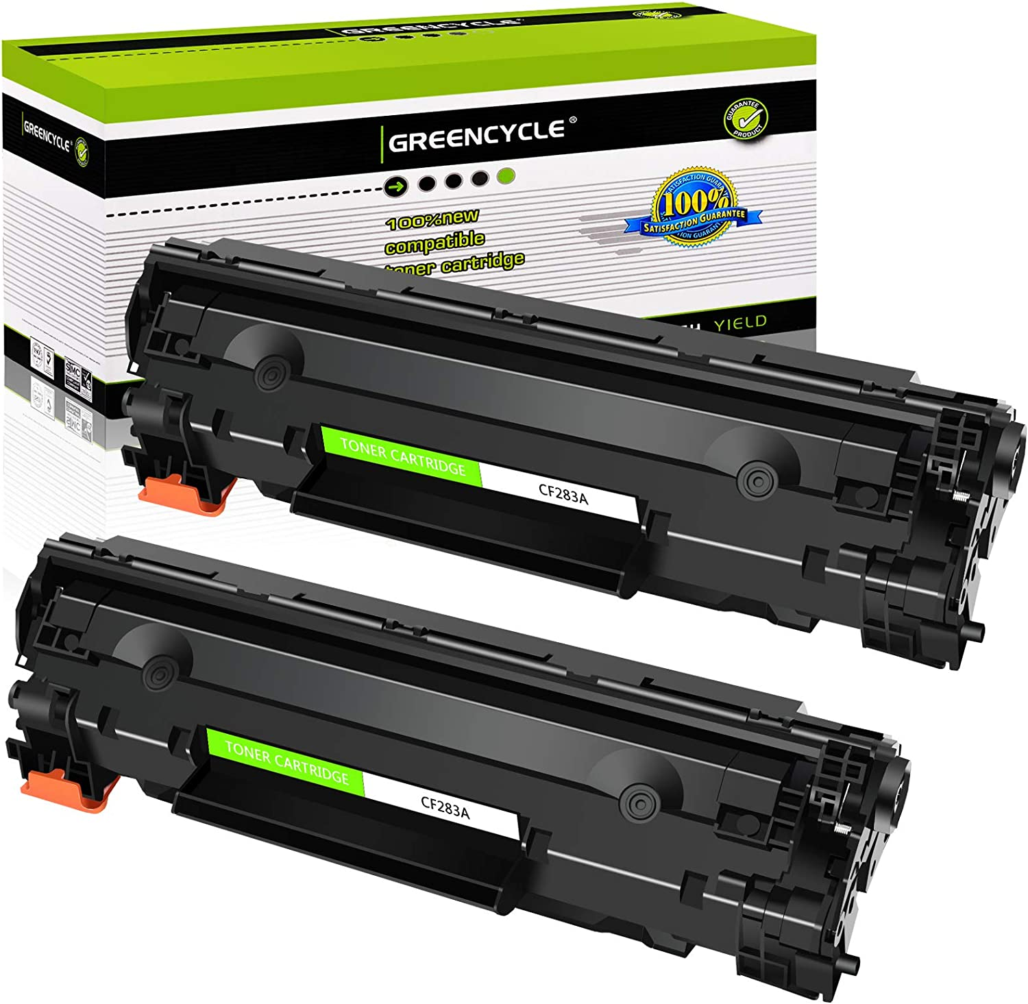 GREENCYCLE Compatible CF283A 83A Laser Toner Cartridge Replacement for Laserjet Pro MFP M125a M225dn M201n M127fn Printer (Black, 2 Pack)