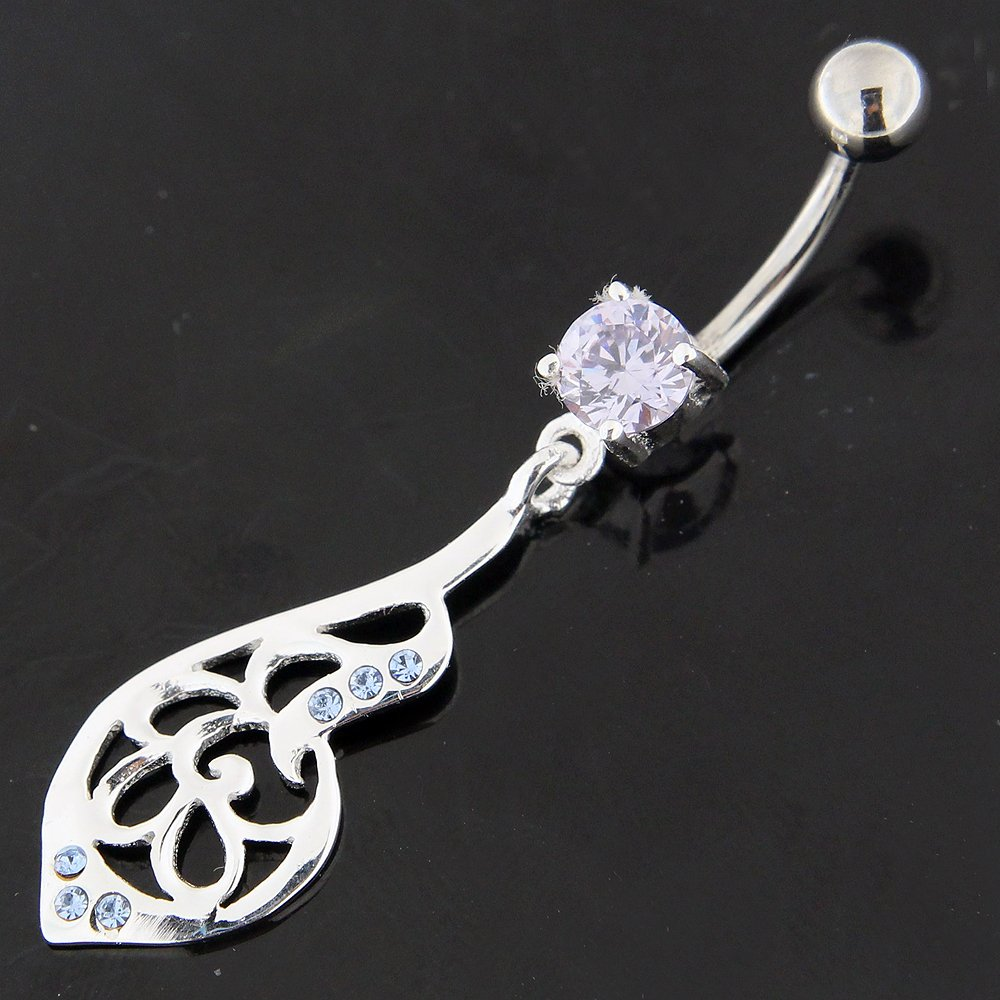 Tribal Leaf Dangling 925 Sterling Silver with Stainless Steel Belly Button Ring