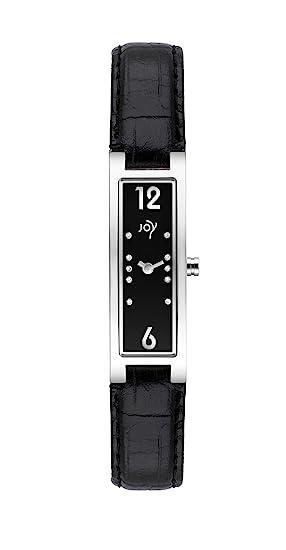 Joy Rectangulares Tamano JW536 - Reloj de mujer de cuarzo, correa de piel color negro