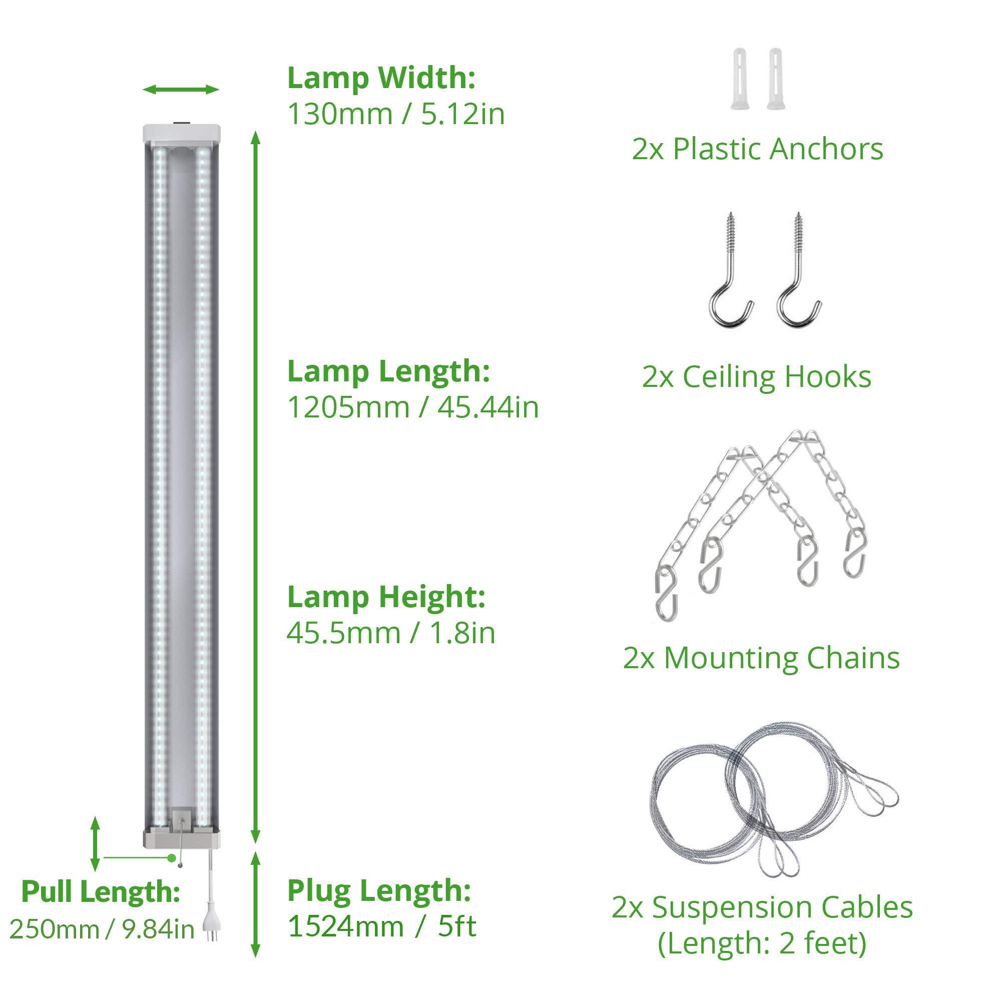 Sunco Lighting 4 Pack 4ft 48 Inch LED Utility Shop Light 40W (260W Equivalent) 5000K Kelvin Daylight, 4500 Lumens, Double Integrated Linkable Garage Ceiling Fixture, Clear Lens - Energy Star/ETL by Sunco Lighting (Image #4)