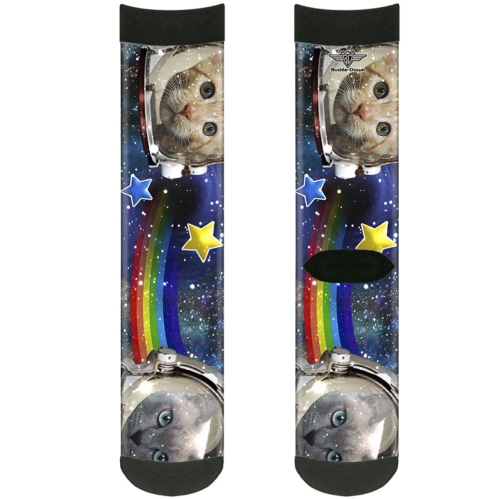 Buckle-Down Unisex-Adults Socks Astronaut Cats in Space//Rainbows//Star Crew Multicolor,