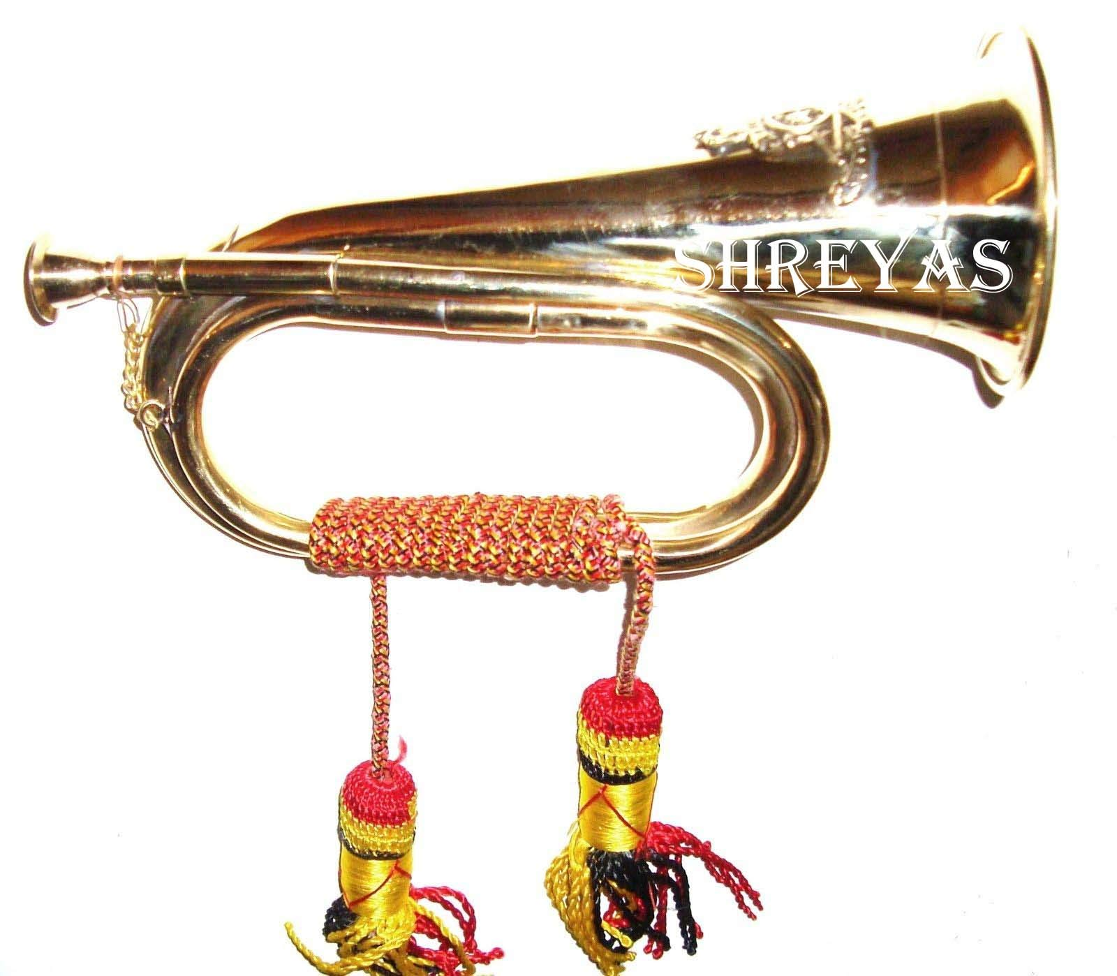 SC EXPORTS Boy Scout Brass and Copper Blowing Bugle Attack War Command Signal Horn 10.6'' Inch with Beautiful Colourful Rope Binding