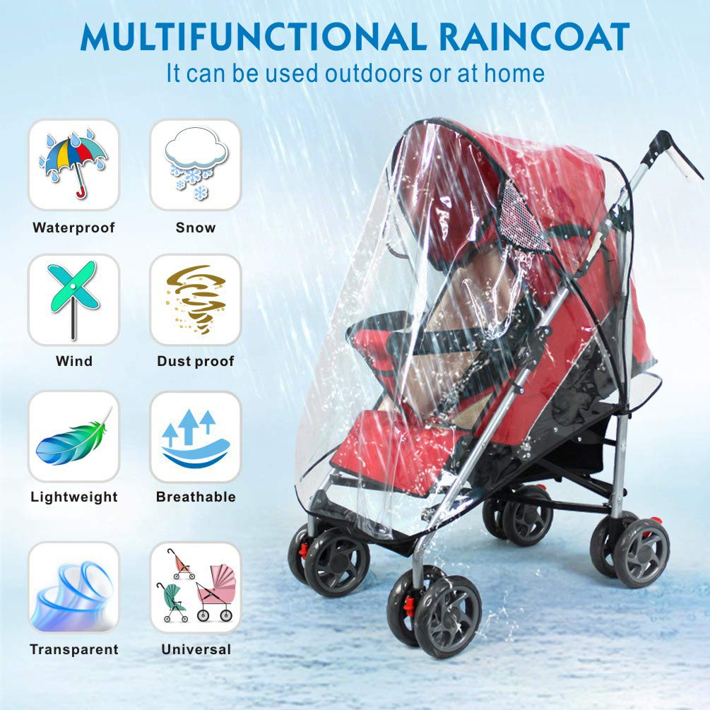Universal Baby Stroller Rain Cover + Mosquito Net,Idefair Weather Shield Accessories,Protect from Rain Wind Snow Dust Insects Water Proof Ventilate Clear-Breathable Bug Shield for Baby Stroller by Idefair (Image #2)