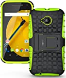 Heartly Flip Kick Stand Spider Hard Dual Rugged Armor Hybrid Bumper Back Case Cover For Motorola Moto E 2nd Generation / Moto E2 XT1505 - Great Green