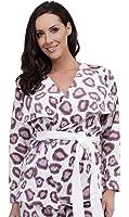 Ladies Fleece Wrap Jacket Leopard Animal Print Purple Pink UK Size 8 10 12 14 16 18