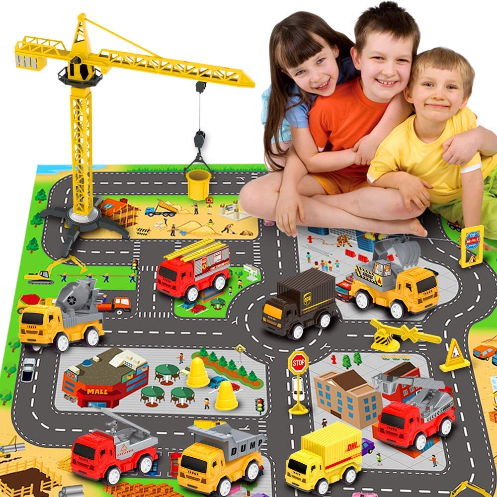 RuiDaXiang Engineering Construction Vehicles Toys Sets, with Play City Mat, Toy Trucks, Mini Pull Back Cars Playset, Toy Gift for Boys, Girls, Kids & Toddlers