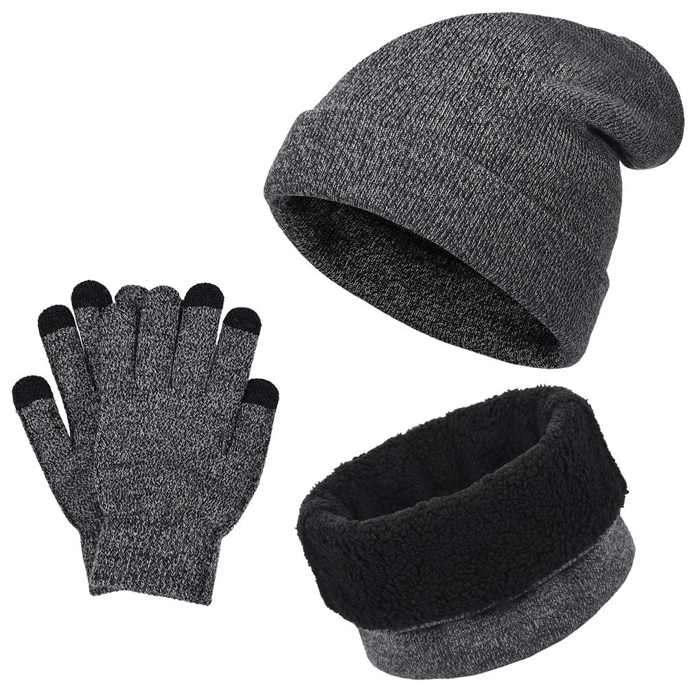 VBIGER Winter Warm Beanie Hat + Scarf + Touch Screen Gloves, Unisex 3 Pieces Cap Set for Men Women