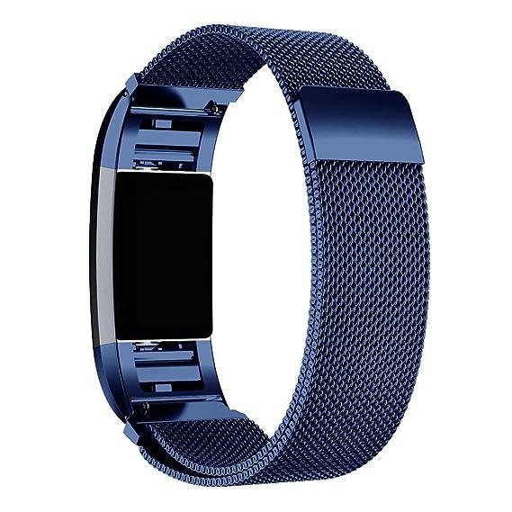 Correas Fitbit Charge 2, ☀️Modaworld Reemplazo De Pulsera de Correa de Reloj de Acero Inoxidable para Fitbit Charge 2 Smartwatch Banda de Repuesto (Azul): ...