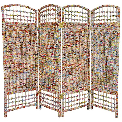 Oriental Furniture 4 ft. Tall Recycled Magazine Room Divider - 4 Panels