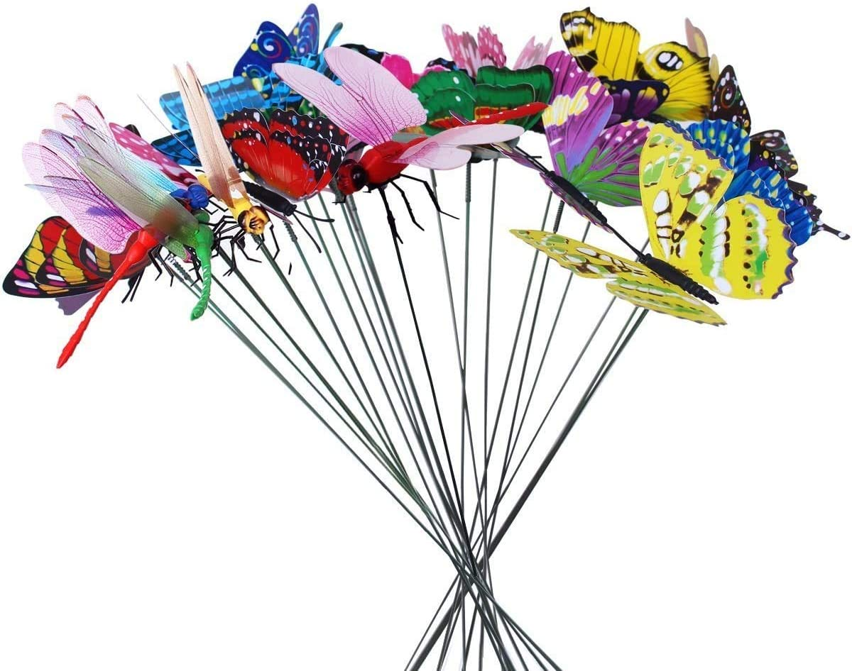 Homgaty 25Pieces Colourful Garden Butterflies Dragonflies On Sticks Butterfly Stakes Patio Ornaments Plant Outdoor Yard Decoration