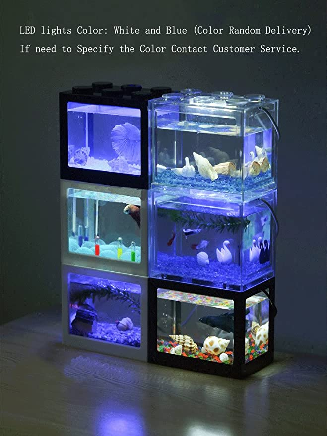 OMEM USB Mini Fish Tank, Micro Tanque de Escritorio LED Fish Tank ...
