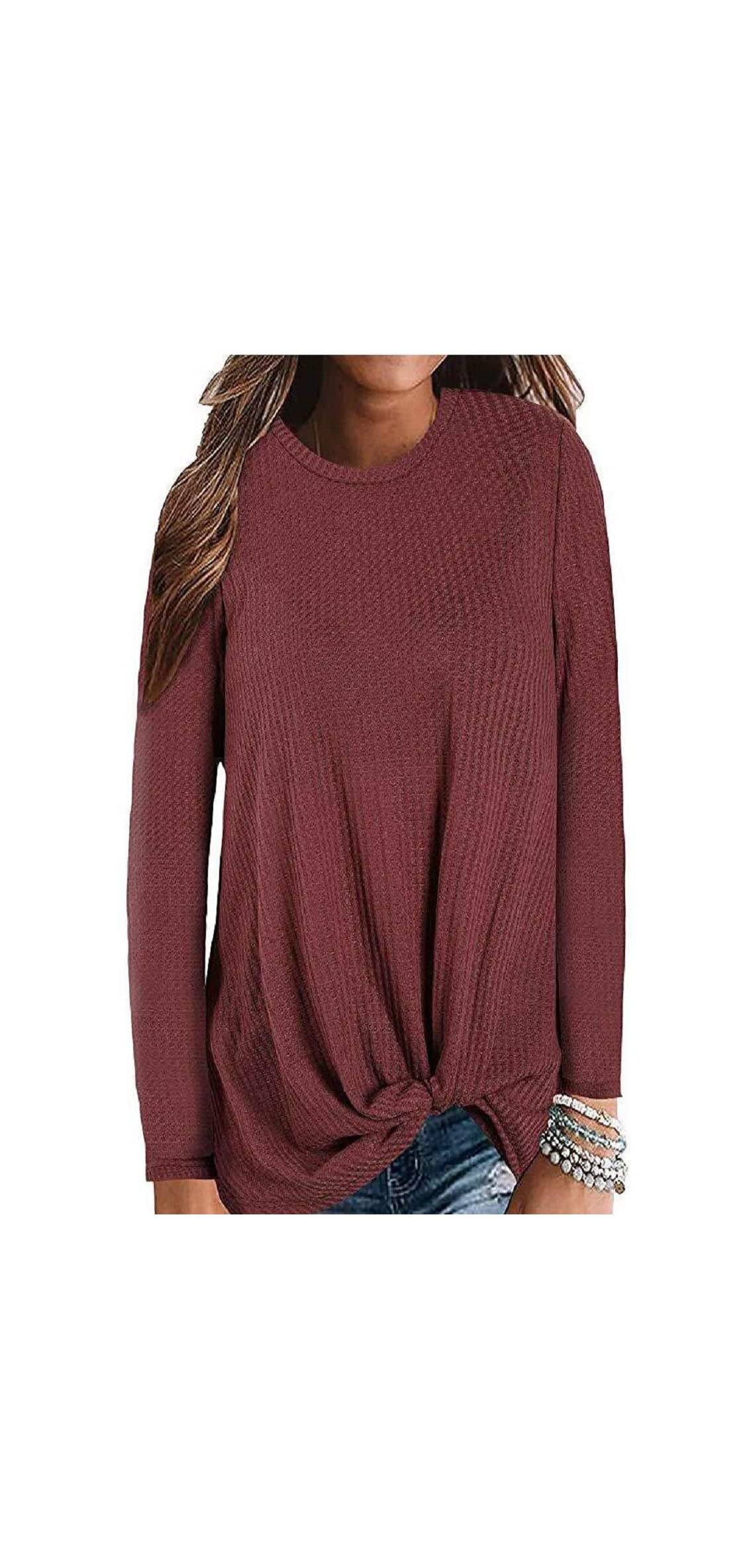 Womens Long Sleeve Tops Casual Waffle Knit Twist Knot Blouses