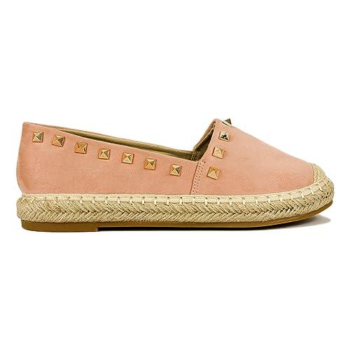 Alpargata con Piso de Yute y Adorno de tachas.: Amazon.es: Zapatos y complementos