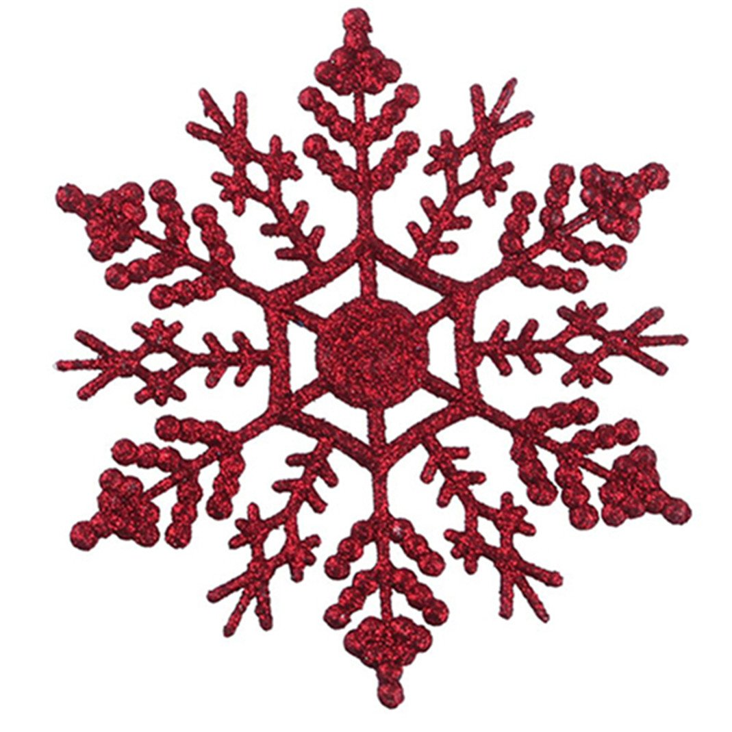 bismarckbeer 12 Pcs Snowflake Shape Ornaments Home Shop DIY Christmas Tree Hanging Decoration (White)