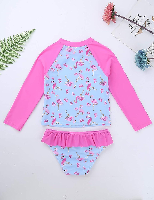 MSemis Baby M/ädchen Badebekleidung Rash Guard Zweiteiler Bikini Tankini Set UV-Schutz Langarm Badeanzug Flamingo Badeshirt Slips Gr 86-128