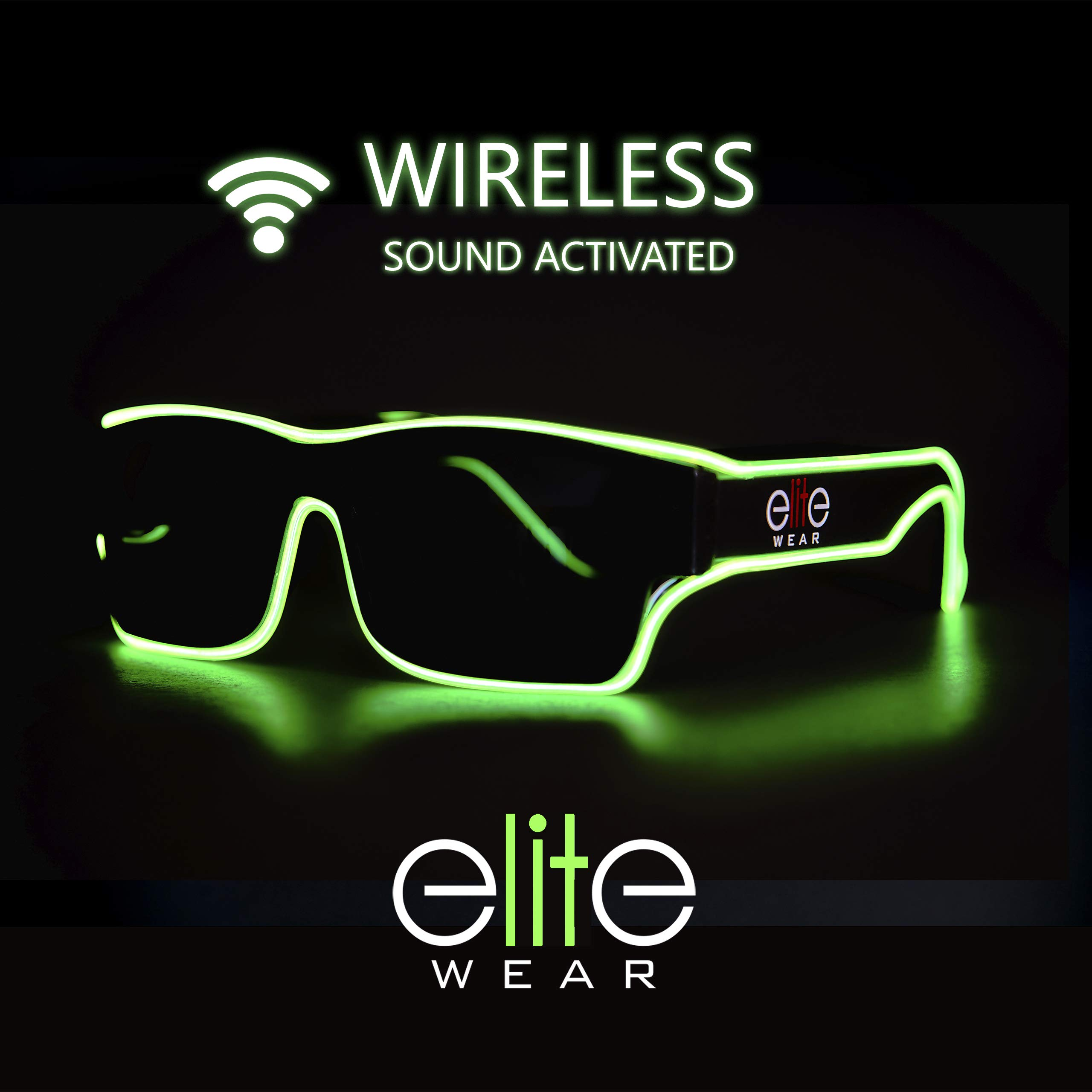 Elite Wear Wireless Sound Activated Rechargeable Electroluminescent Light Up Glasses (Lime) by Elite Wear