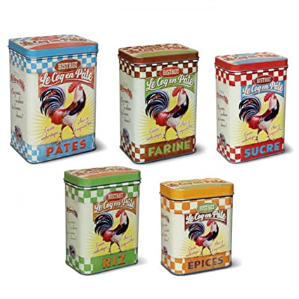ONOGAL 5 Cajas Metalicas Vintage para Especias Arroz Azúcar Harina y Pasta 211253 7135