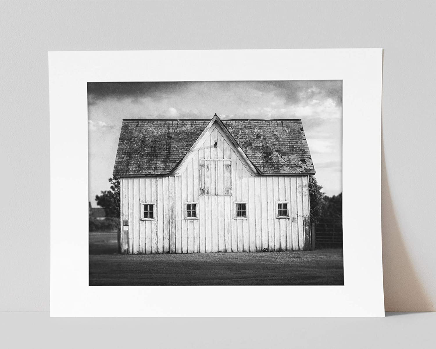 Amazon Com Black And White Modern Farmhouse Wall Art Decor Pre Matted 8x10 Print Not Framed Fits 11x14 Frame Rustic Country White Barn Landscape Artwork Handmade