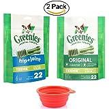 Greenies TEENIE Dental Treats 2 Pack Variety Bundle, 44 Daily Treats (12 Total Ounce Bags) - Natural Dog Treats for Bad Breath - Original & Hip & Joint Aid Dental Treats W/ HSP Pet Bowl