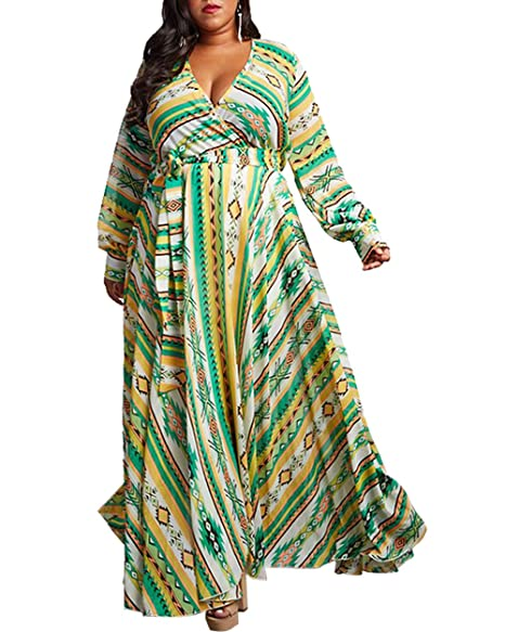 CACNCUT Women\'s Plus Size Maxi Dresses Waistband Flowing Printed Chiffon  Dress Romantic