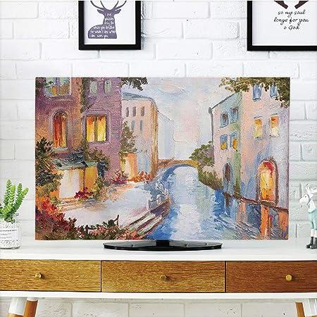 iPrint - Cubierta antipolvo para televisor LCD, Venecia, famosos canales de agua en Italia, barcos, puentes, ladrillos,