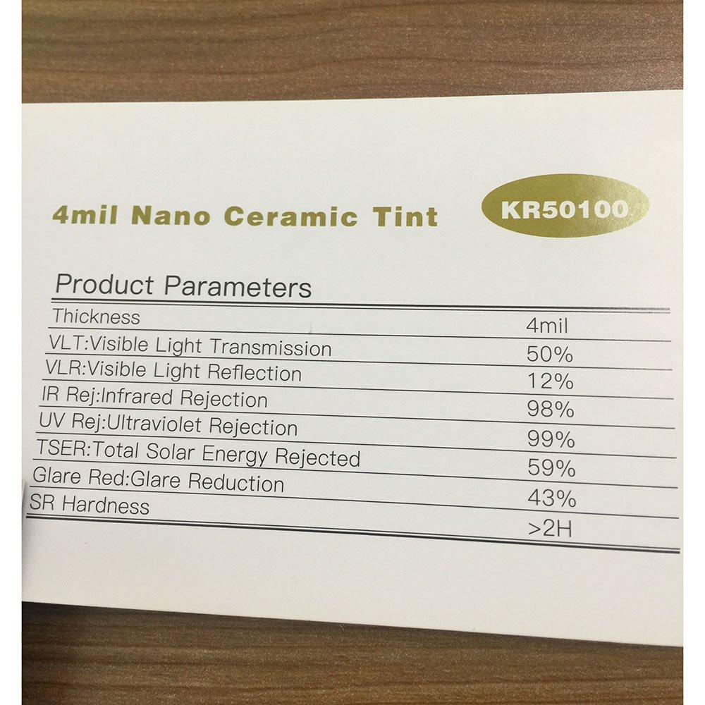 HOHO 4Mil Nano Ceramic Solar Tint UV Proof Car Window Solar Film Glass Privacy Tint VLT 5/%,152cmx500cm