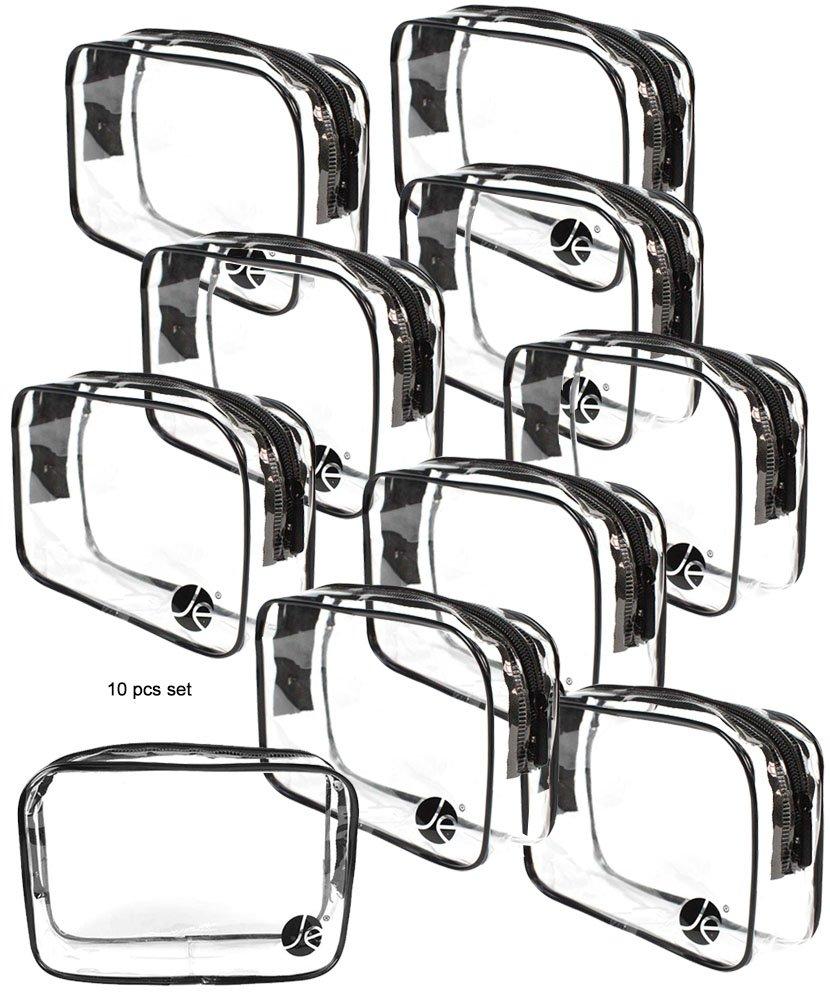 JAVOedge (10 PACK) PVC Transparent Vinyl Zipper Cosmetic, Toiletry Bag (7.1'' x 2.1'' x 5'') Vacation, Bathroom, Storage by JAVOedge