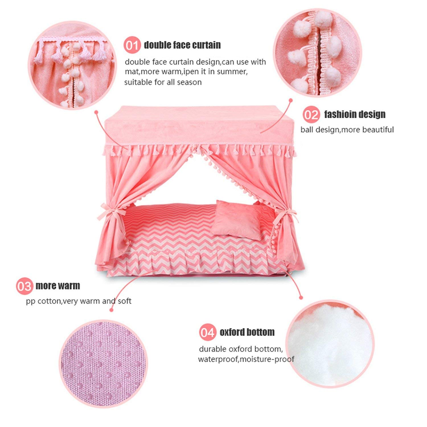 Amazon.com : Pink Disassembly Summer Court Kennel Dog Nest ...