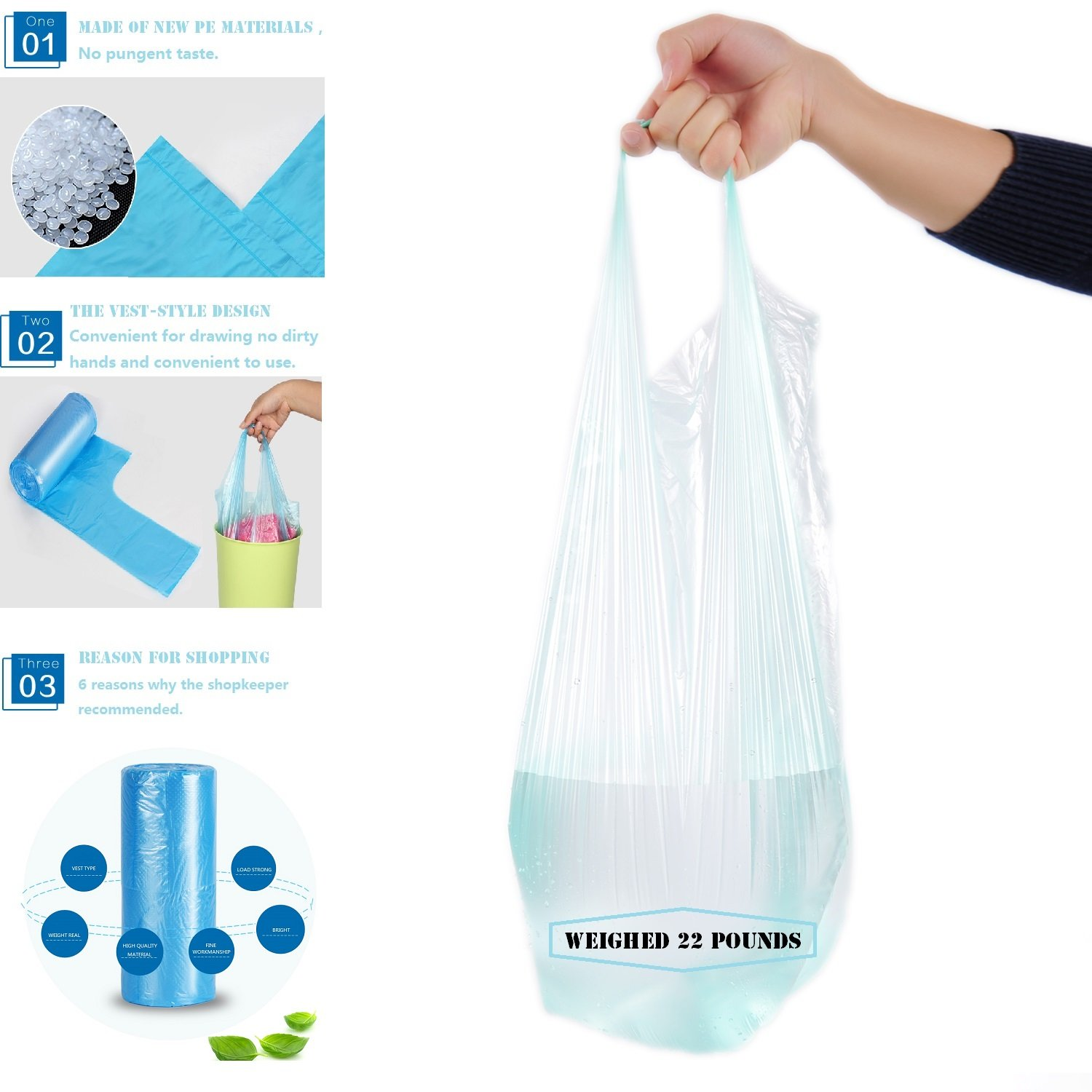 4 Rolls Garbage Bag -- Plastic Odorless Thickening Reinforcement Points Off Type Vest Type Portable Bag Environmental Protection Household Garbage Bags for Home And Hotel Color(Blue、Green、Pink、Black) by Only Supermarket (Image #6)