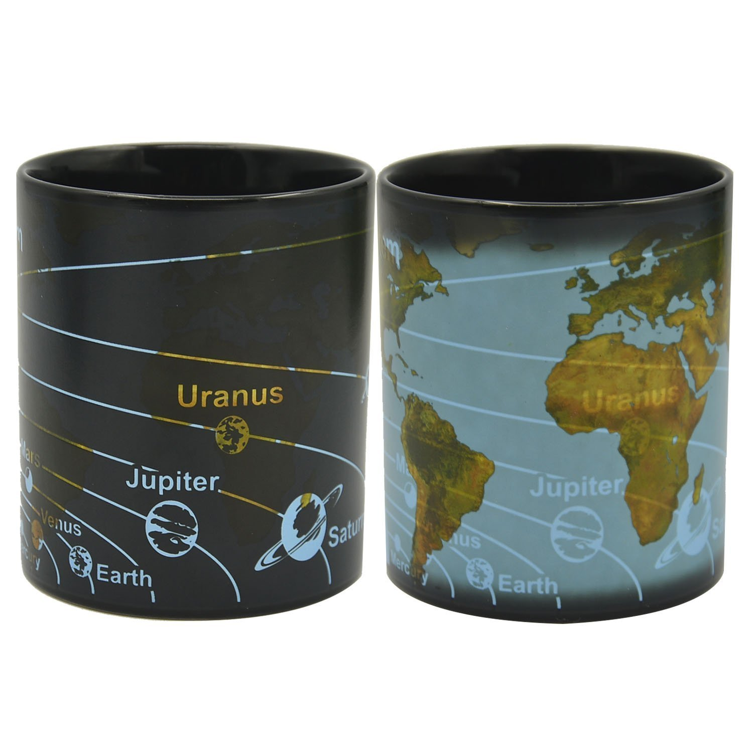 Magic Porcelain Coffee Mug Solar System Ceramic Heat Sensitive Color Changing Tea Cup,Best Birthday Gifts,13 Ounce - BPA Free Ceramic - Comes in a Fun Colorful Gift Box (Earth)