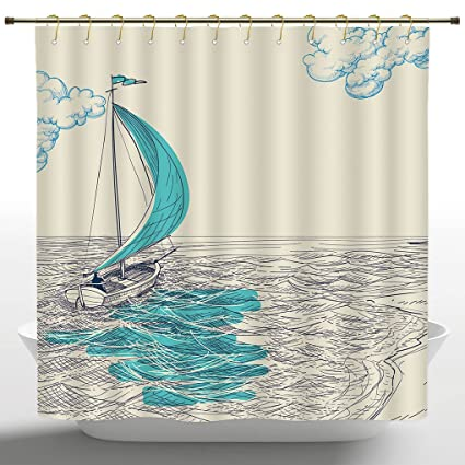 European Shower Curtain By IPrintNautical DecorSailing Boat Reflection Cloudy Sky Sandy Seaside