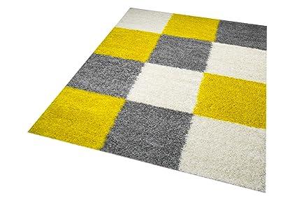 Merinos Shaggy Teppich Hochflor Langflor Teppich Wohnzimmer Teppich  Gemustert in Karo Design Gelb Grau Cream Größe 120 cm Rund