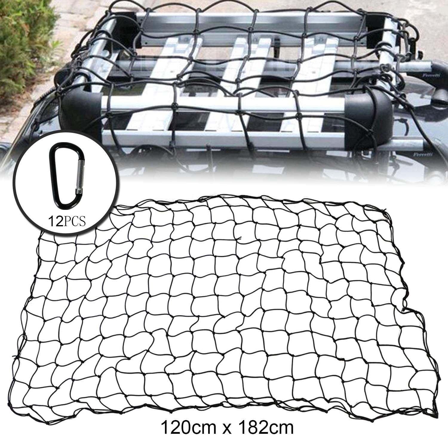 """4 X 6 Super Duty Truck Cargo Net Max Stretches to 8 X 12 with 12 Tangle-Free Carabiners Cargo Net HuaZoon Truck Nets 4/""""x4/""""Bungee Net Mesh Holds Loads Tighter Steel"""