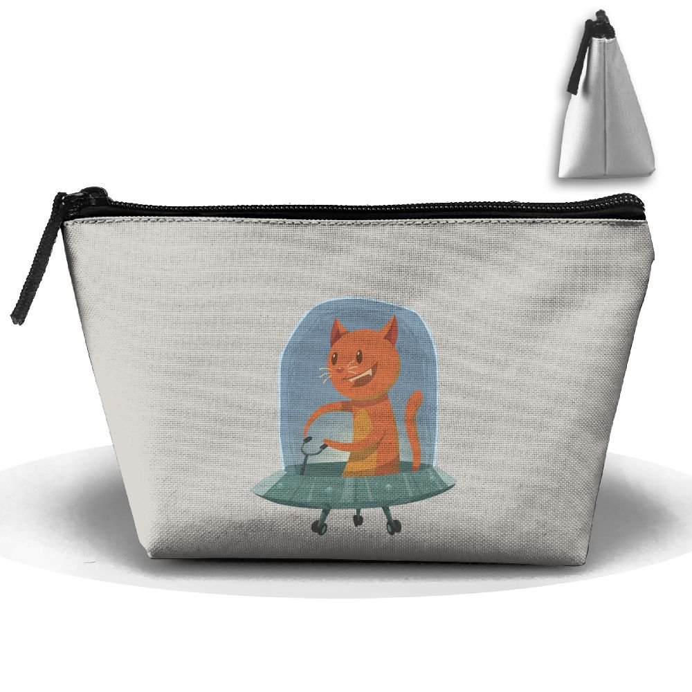 60%OFF Unisex Stylish And Practical Funny Orange Alien Cat Fly An Ufo Trapezoidal Storage Bags Handbags
